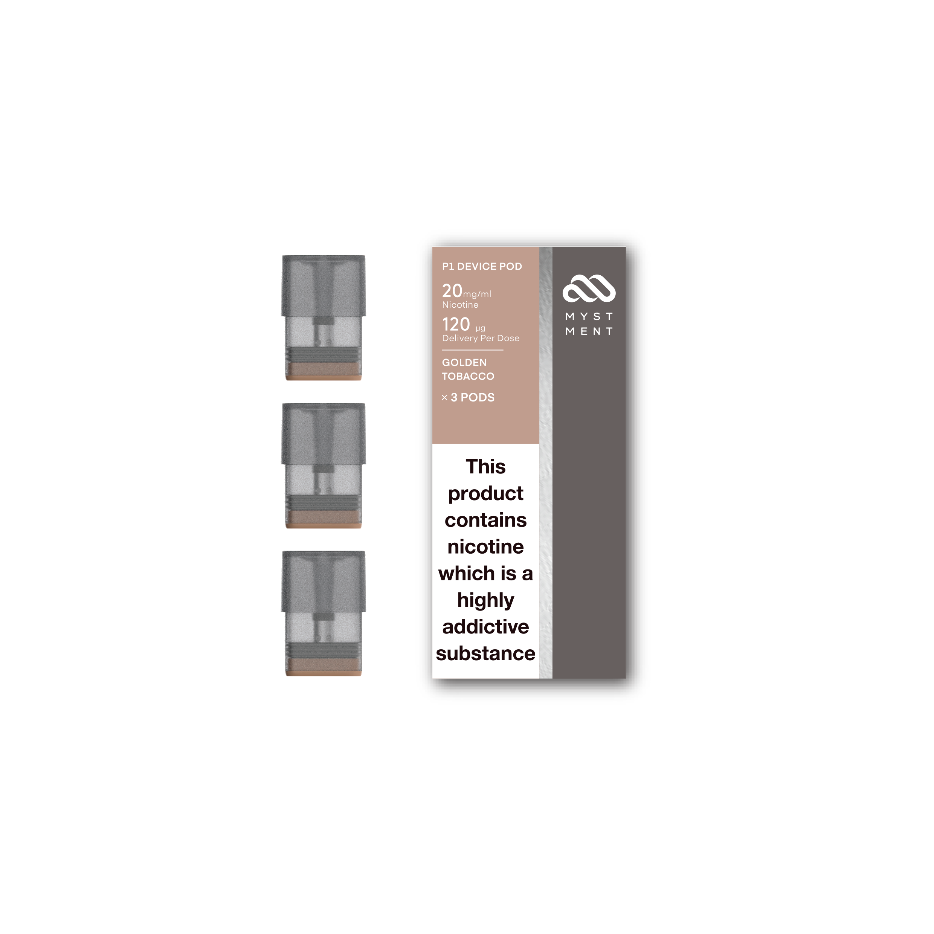 Myst P1 Pod Set of 3 Golden Tobacco 2% -UK
